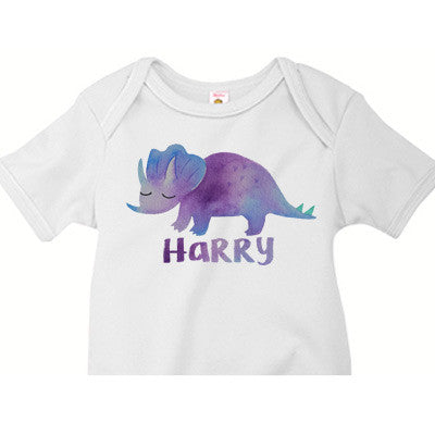 Watercolor Triceratops Onesie - Moonbeam Baby