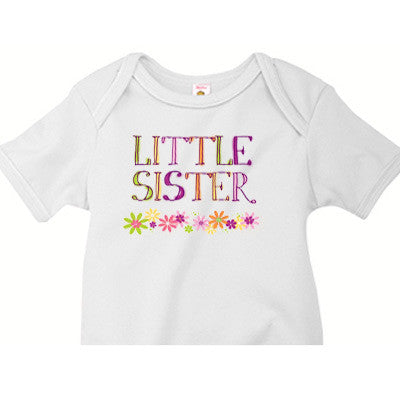 Little Sister Onesie<br>Watercolor Flowers - Moonbeam Baby