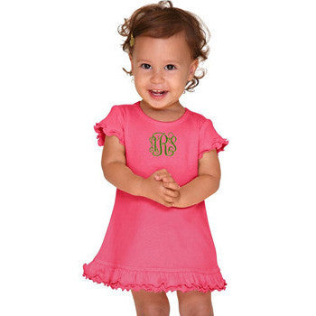 Monogrammed A-Line Dress - Hot Pink - Moonbeam Baby