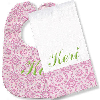 Personalized Bib/Burp Set <br> Pink Medallion