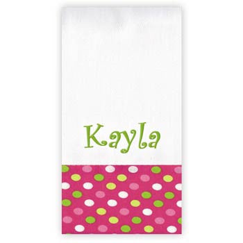 Personalized Burp Cloth<br> Confetti Dots Pink and Green