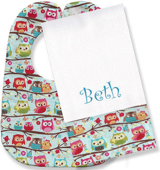 Personalized Burp Cloth/Bib Set<br> Sweet Owls - Moonbeam Baby