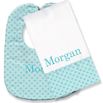 Personalized Bib/Burp Set <br> Aqua Dot - Moonbeam Baby