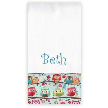 Personalized Burp Cloth<br> Sweet Owls - Moonbeam Baby