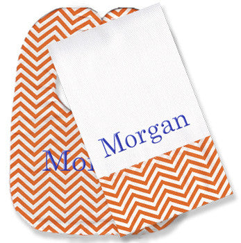Personalized Bib/Burp Set <br> Orange Chevron - Moonbeam Baby