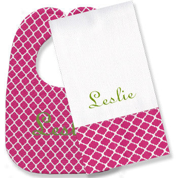 Personalized Bib/Burp Set - Hot Pink Quatrefoil - Moonbeam Baby