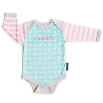 Personalized Onesie - Chirping Chicks Organic - Moonbeam Baby - 1