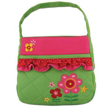 Quilted Purse Flowers w/Rufflles - Moonbeam Baby