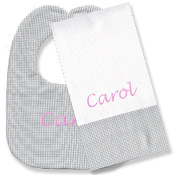 Personalized Bib/Burp Set Grey Gingham - Moonbeam Baby