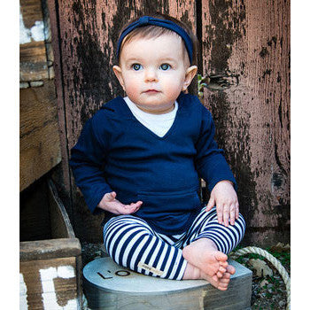 Long Sleeve Navy Hooded Shirt & Navy Striped Leggings Set - Moonbeam Baby - 1