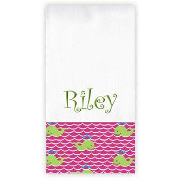 Personalized Burp Cloth<br> Hot Pink Waves - Moonbeam Baby