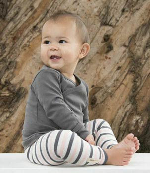 Long Sleeve Gray Hooded Shirt & Coral/Grey Leggings - Moonbeam Baby - 1
