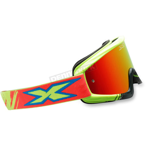 EKS Brand Yellow/Cyan/Fluorescent Red X-Fade Volcano Goggles