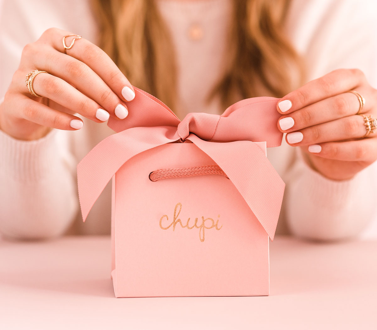 Our luxury blush pink packaging.