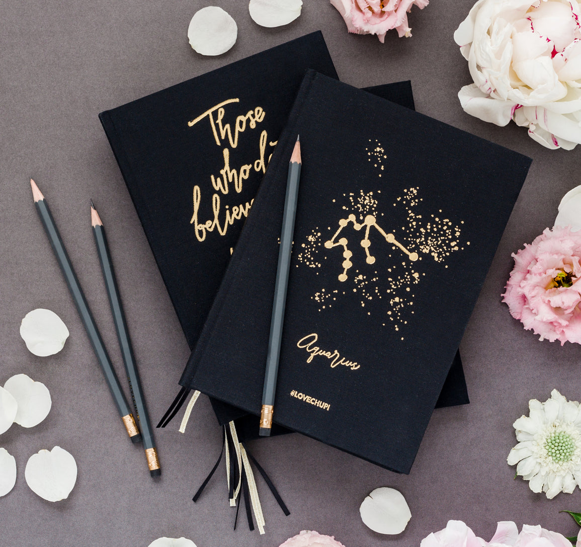 Our starsign gold-foil notebook and stationary.
