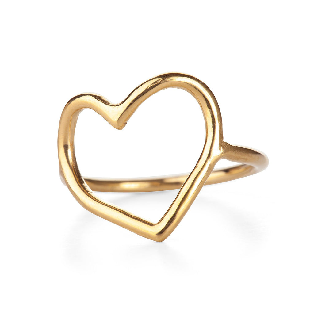 Chupi - Gold Plated Open Heart Ring