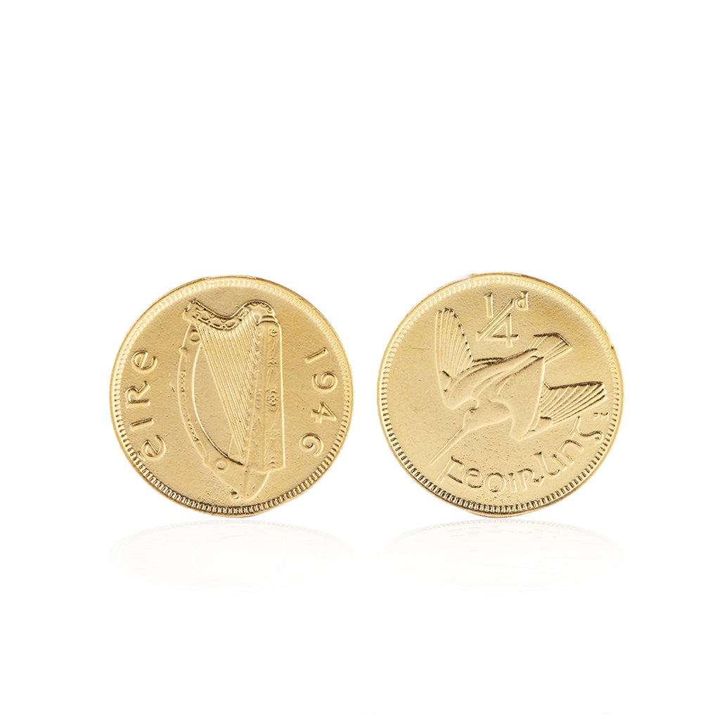 image-Worth Your Weight In Gold Farthing Coin Cufflinks in Gold