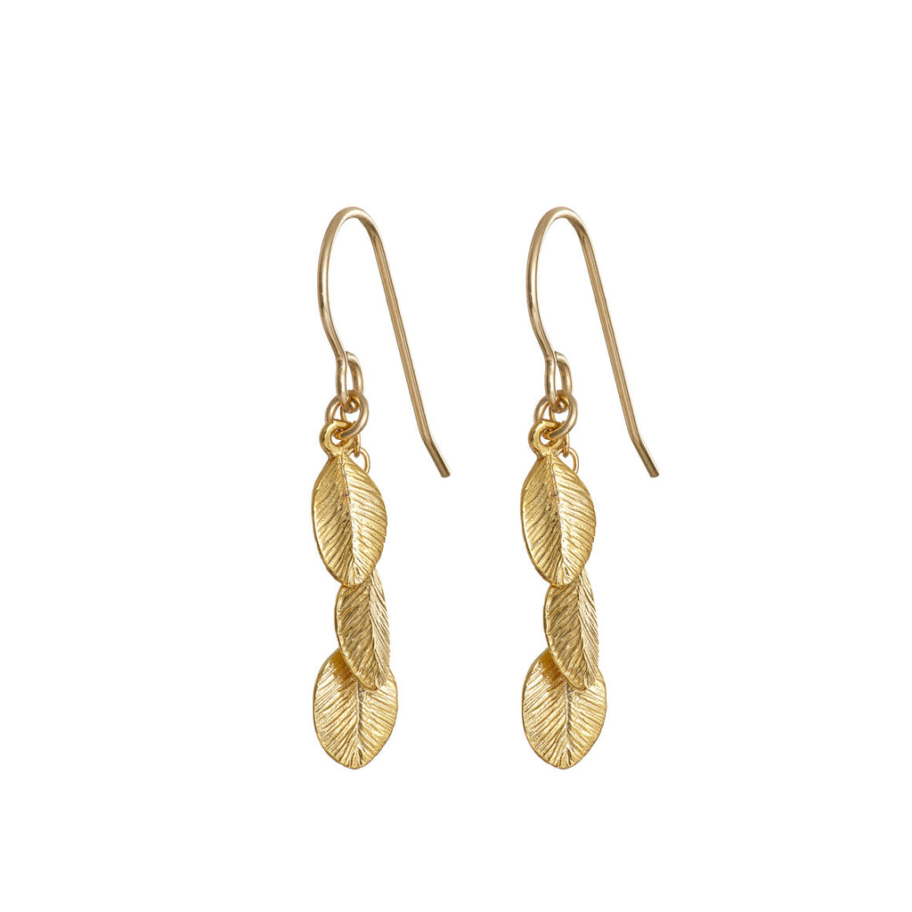 image-Gold Plated Leaves In The Forest Earrings