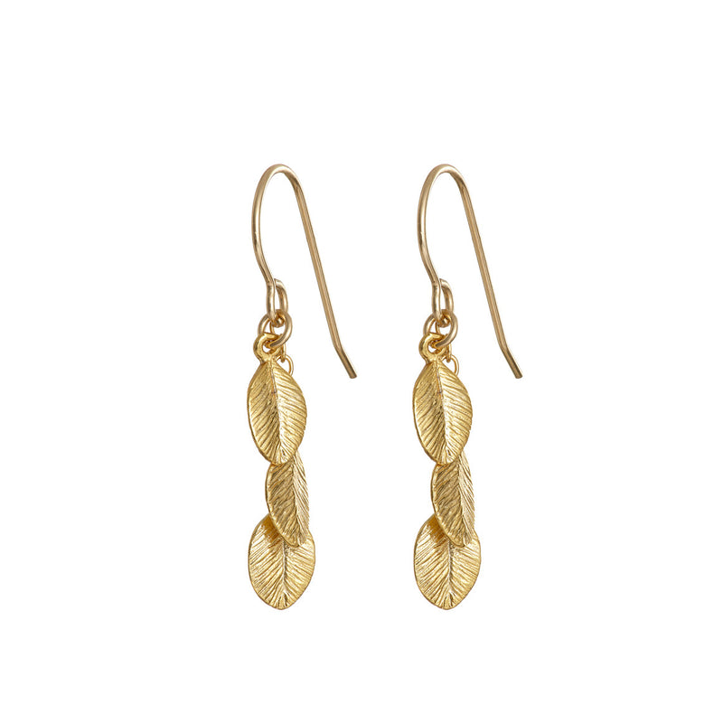 Chupi - Gold Plated Drop Earrings - 13 Leaves in the Forest