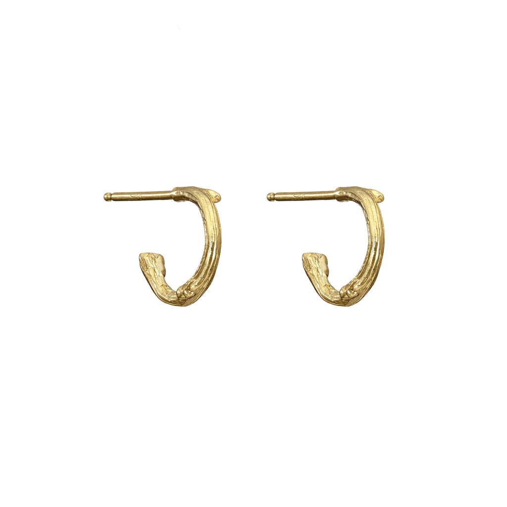 Chupi - Hawthorn Twig Tiny Hoop Earrings - Gold Plated - Love is All You Need