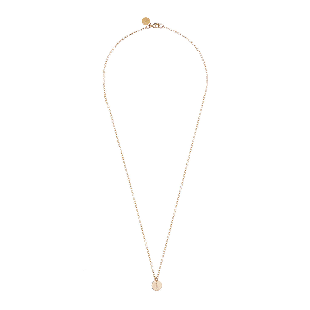 Gold Plated Midi Disc Initial Necklace - One Disc