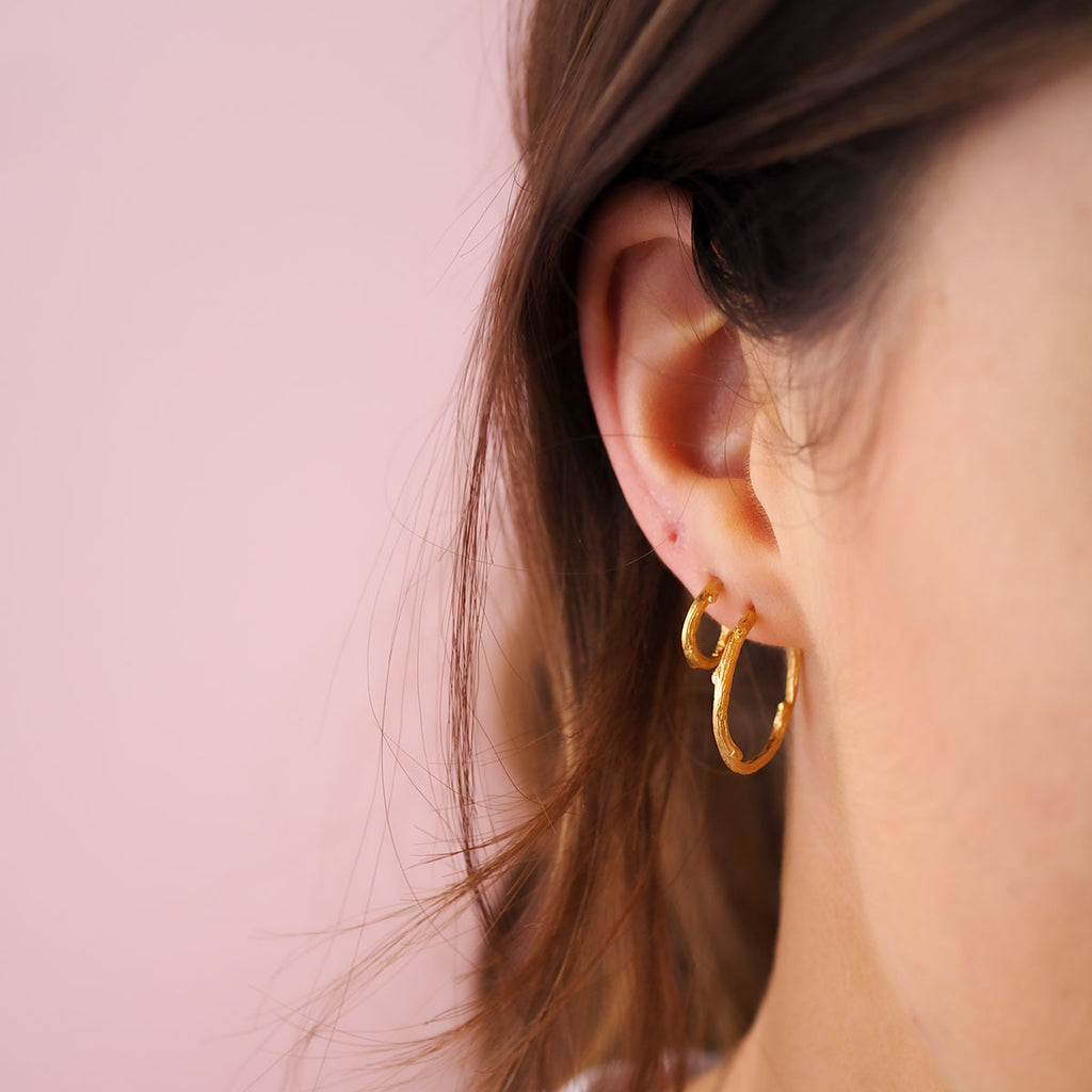 image-Hawthorn Twig Midi Hoop Earrings in Gold