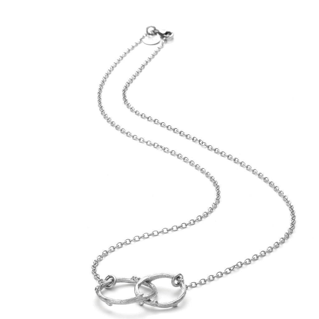 image-Chupi Just The Two Of Us Hawthorn Twig Circle Necklace in Silver