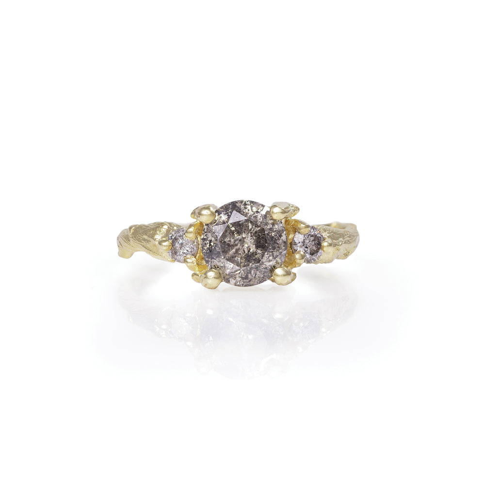 Solid 18k Gold You Me & Magic - One Carat Grey Diamond Ring