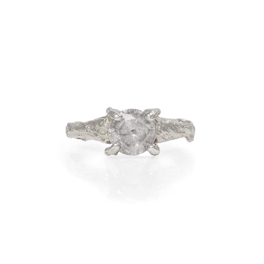 Chupi - Grey Diamond Engagement Ring - Solid White Gold One Carat - Sparkle in the Wild