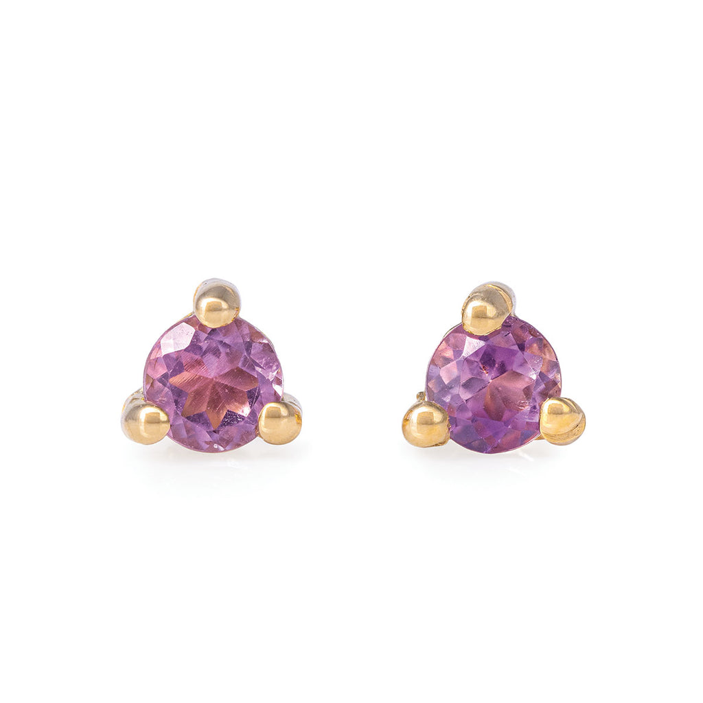 Chupi - Amethyst Birthstone Stud Earrings - Solid Gold - Born Under a Lucky Star