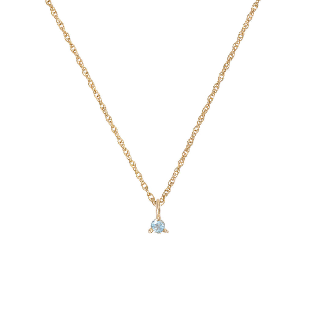 Chupi - Aquamarine Birthstone Necklace - Solid Gold - Born Under a Lucky Star