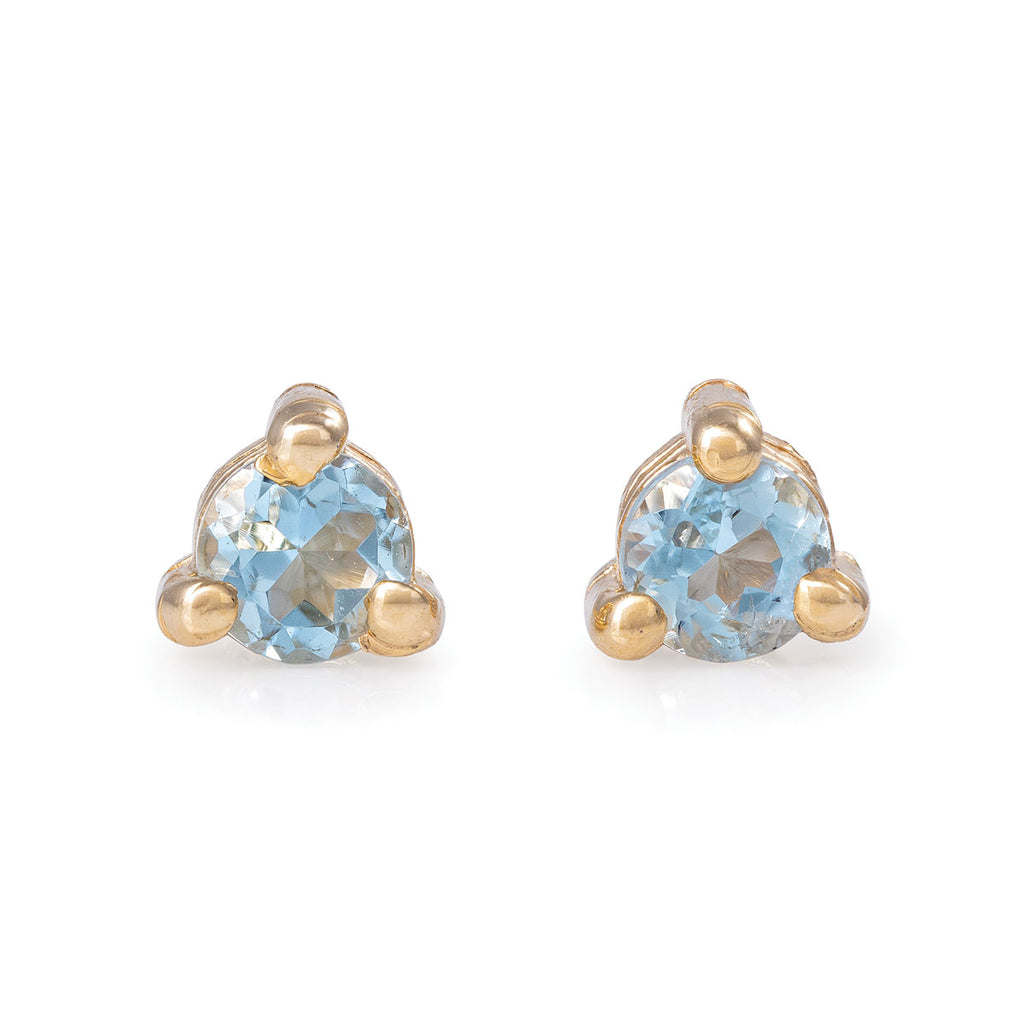 Chupi - Aquamarine Birthstone Stud Earrings - Solid Gold - Born Under a Lucky Star
