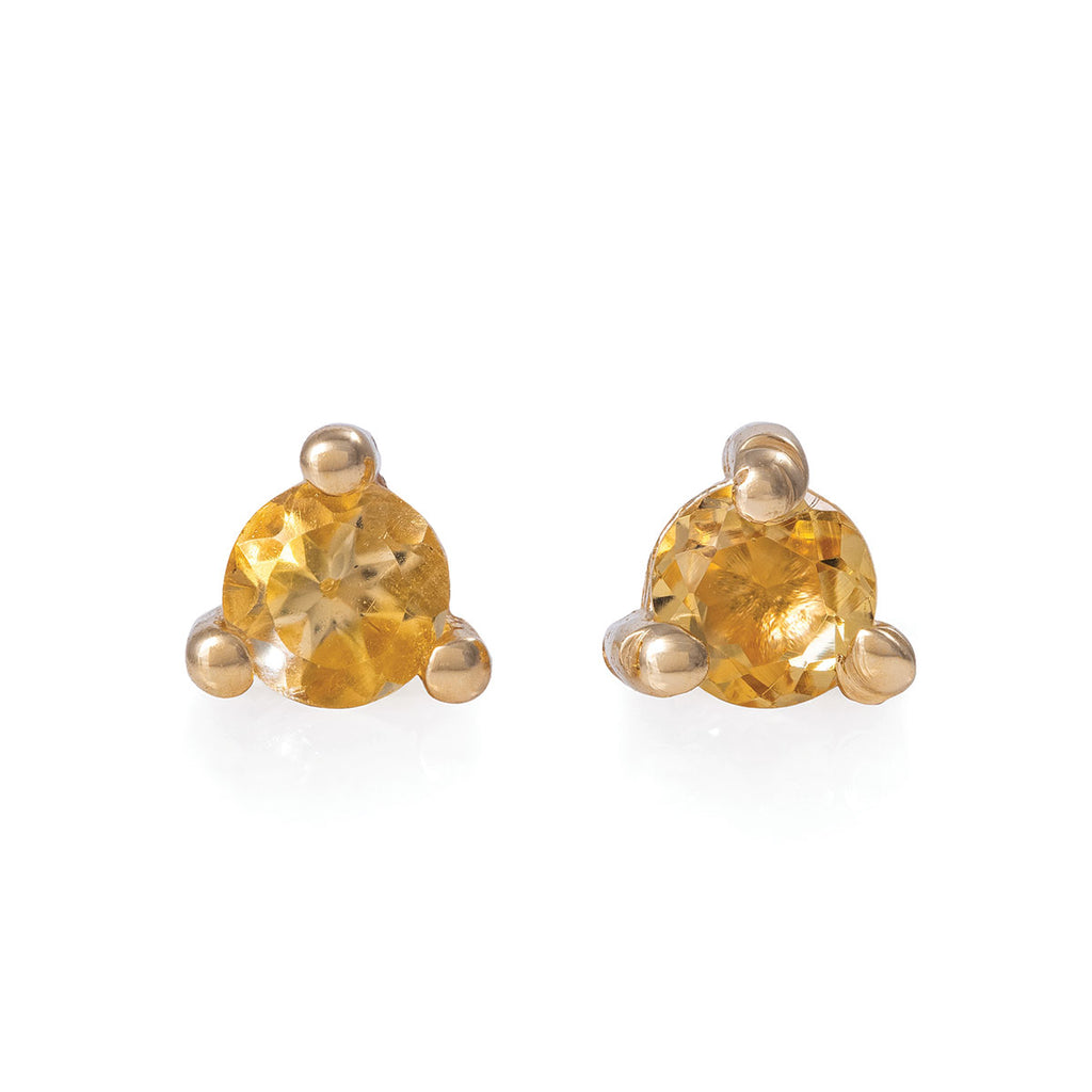 Chupi - Citrine Birthstone Stud Earrings - Solid Gold - Born Under a Lucky Star