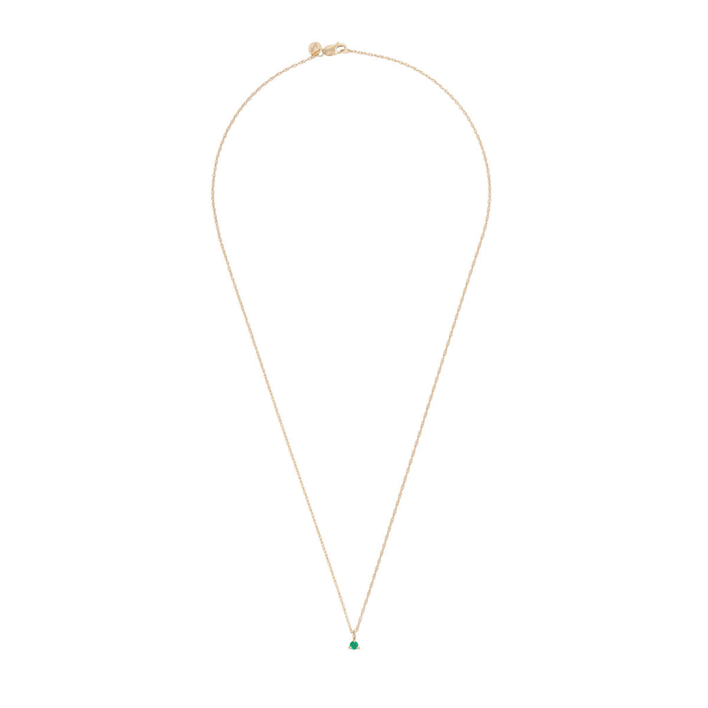 Chupi - Emerald Birthstone Necklace - Solid Gold - Born Under a Lucky Star