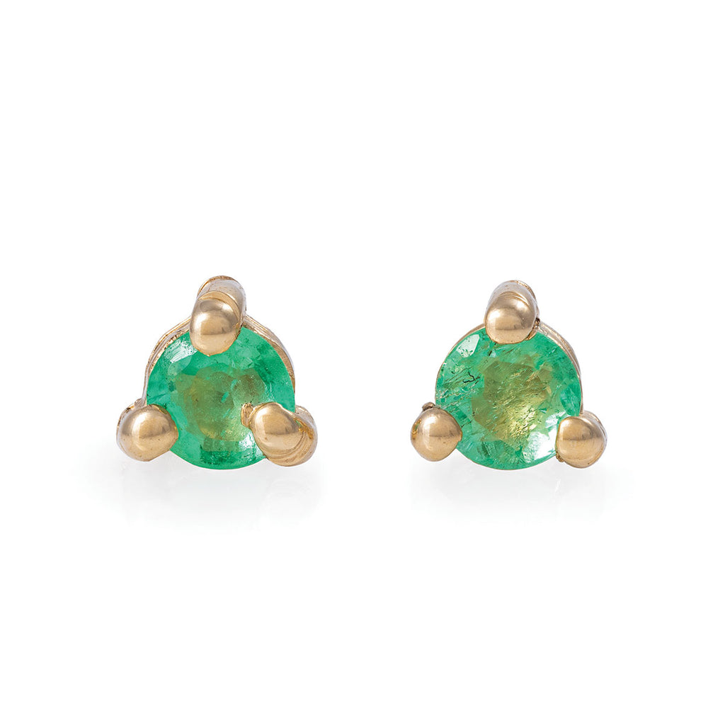 Chupi - Emerald Birthstone Stud Earrings - Solid Gold - Born Under a Lucky Star