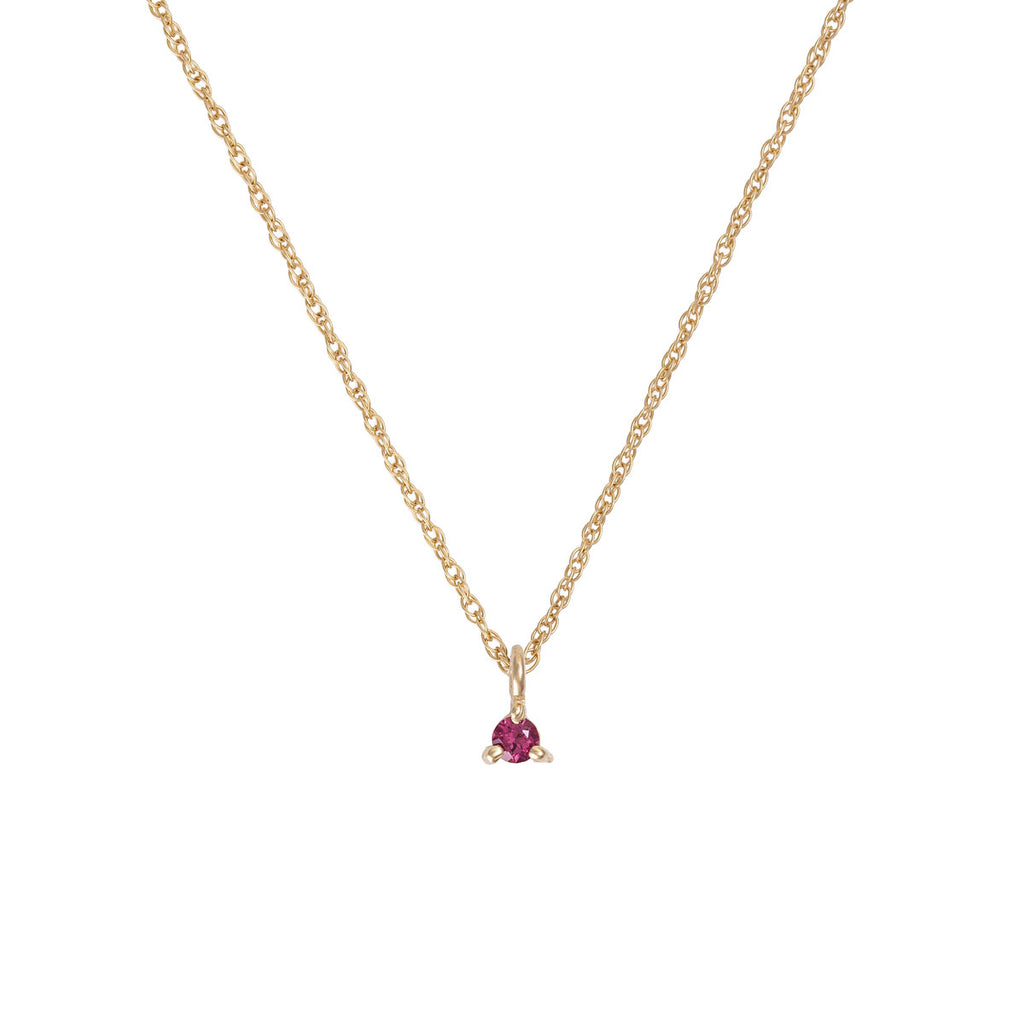 Chupi - Garnet Birthstone Necklace - Solid Gold - Born Under a Lucky Star