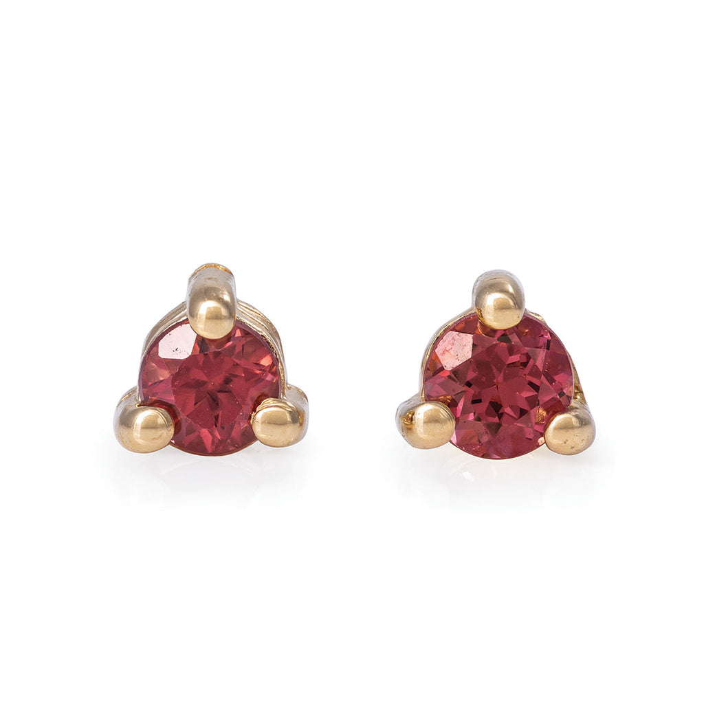 Chupi - Garnet Birthstone Stud Earrings - Solid Gold - Born Under a Lucky Star