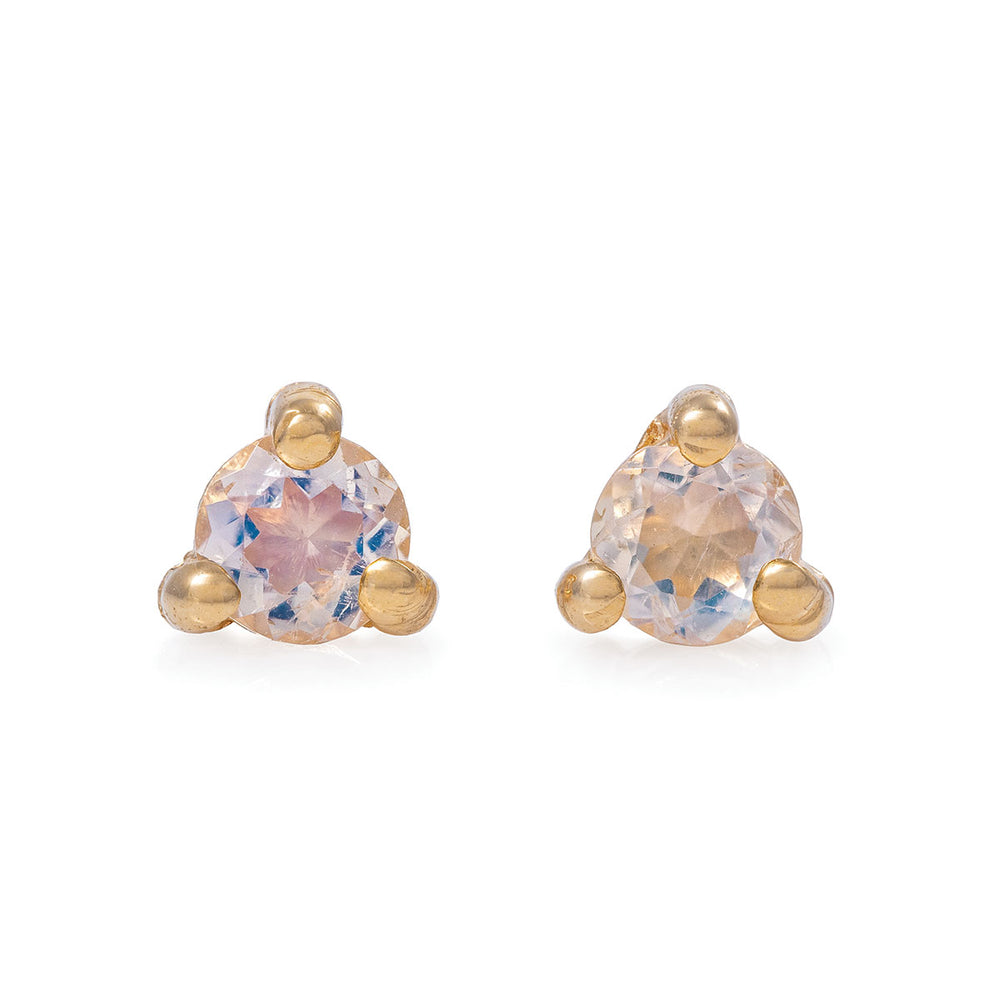 Chupi - Moonstone Stud Earrings - Solid Gold - Born Under a Lucky Star