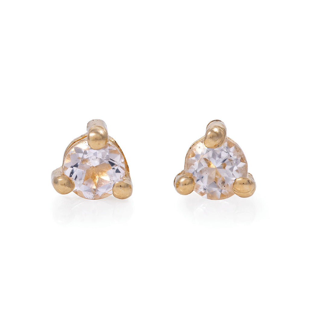 Chupi - Morganite Birthstone Stud Earrings - Solid Gold - Born Under a Lucky Star