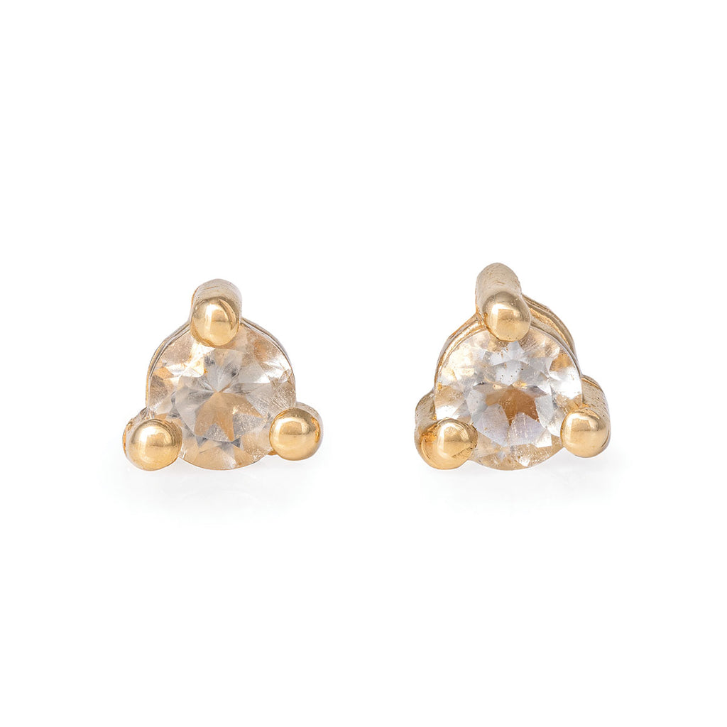 Chupi - Prasiolite Birthstone Stud Earrings - Solid Gold - Born Under a Lucky Star