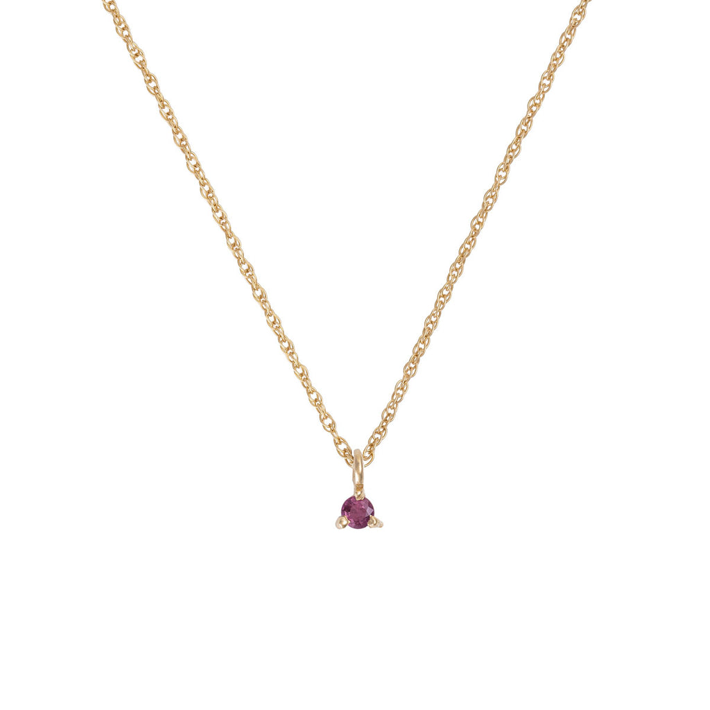 Chupi - Ruby Birthstone Necklace - Solid Gold - Born Under a Lucky Star