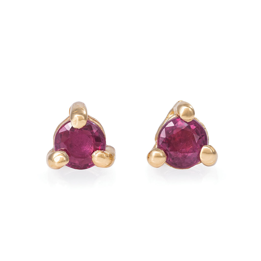 Chupi - Ruby Birthstone Stud Earrings - Solid Gold - Born Under a Lucky Star