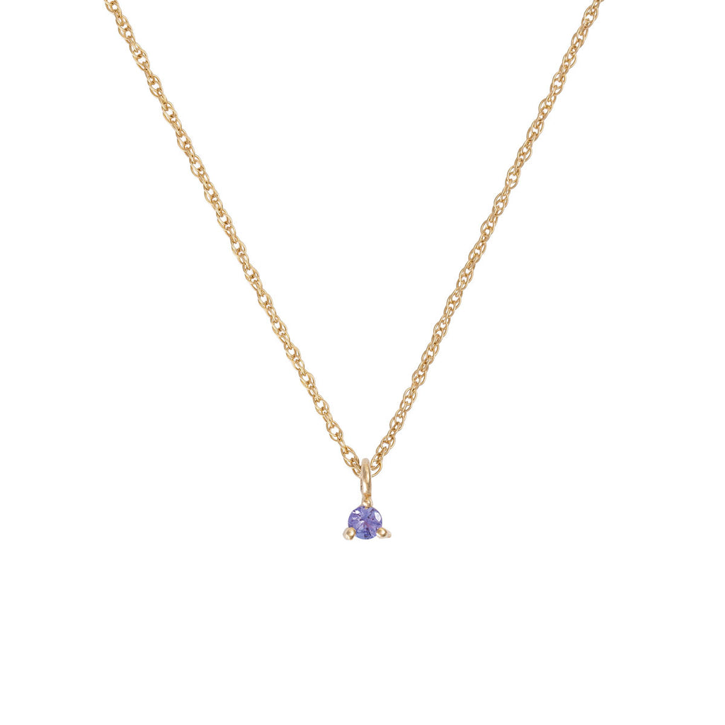 Chupi - Tanzanite Birthstone Necklace - Solid Gold - Born Under a Lucky Star