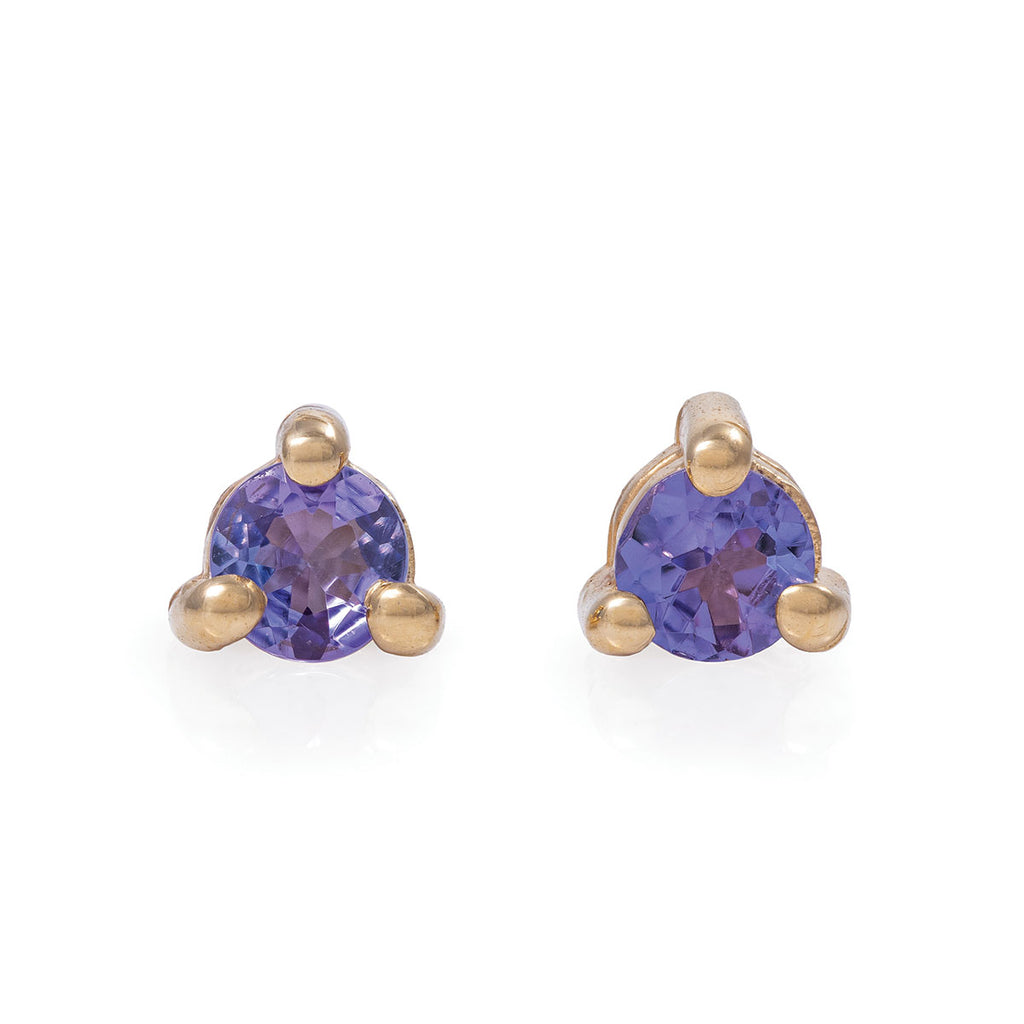 Chupi - Tanzanite Birthstone Stud Earrings - Solid Gold - Born Under a Lucky Star