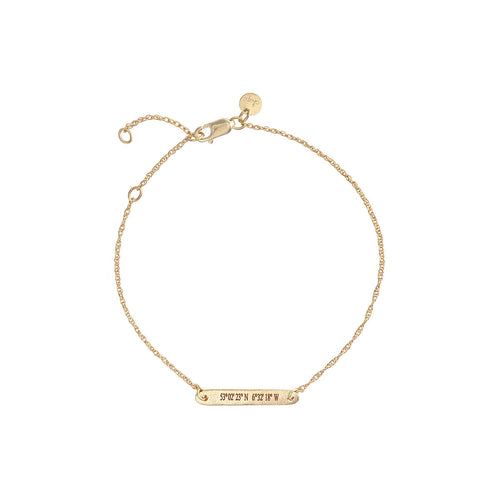 Solid Gold Not All Who Wander Are Lost Bar Coordinates Bracelet