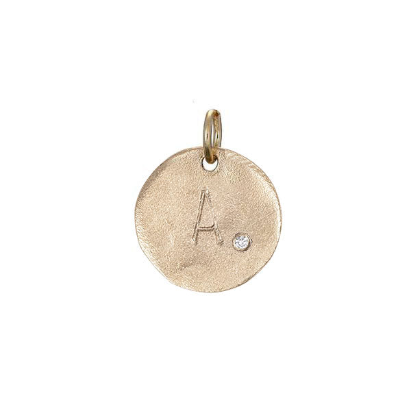 image-Individual Solid Gold Initial Letter Midi Diamond Disc