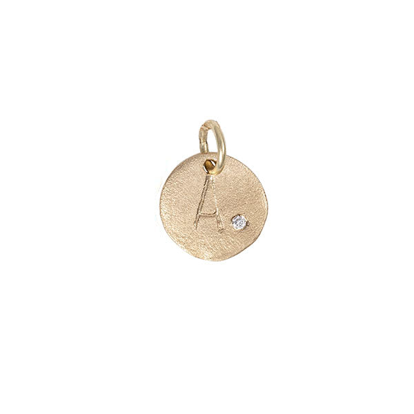 Chupi - Solid Gold Initial Disc - Tiny - I Am Yours Now