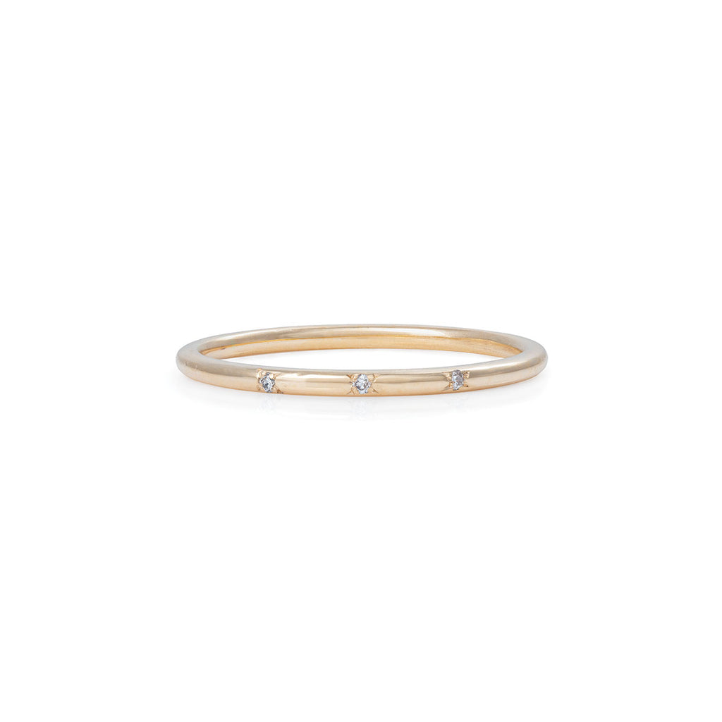 Chupi - Diamond Solid Gold Band - Love Luck Laughter Ring