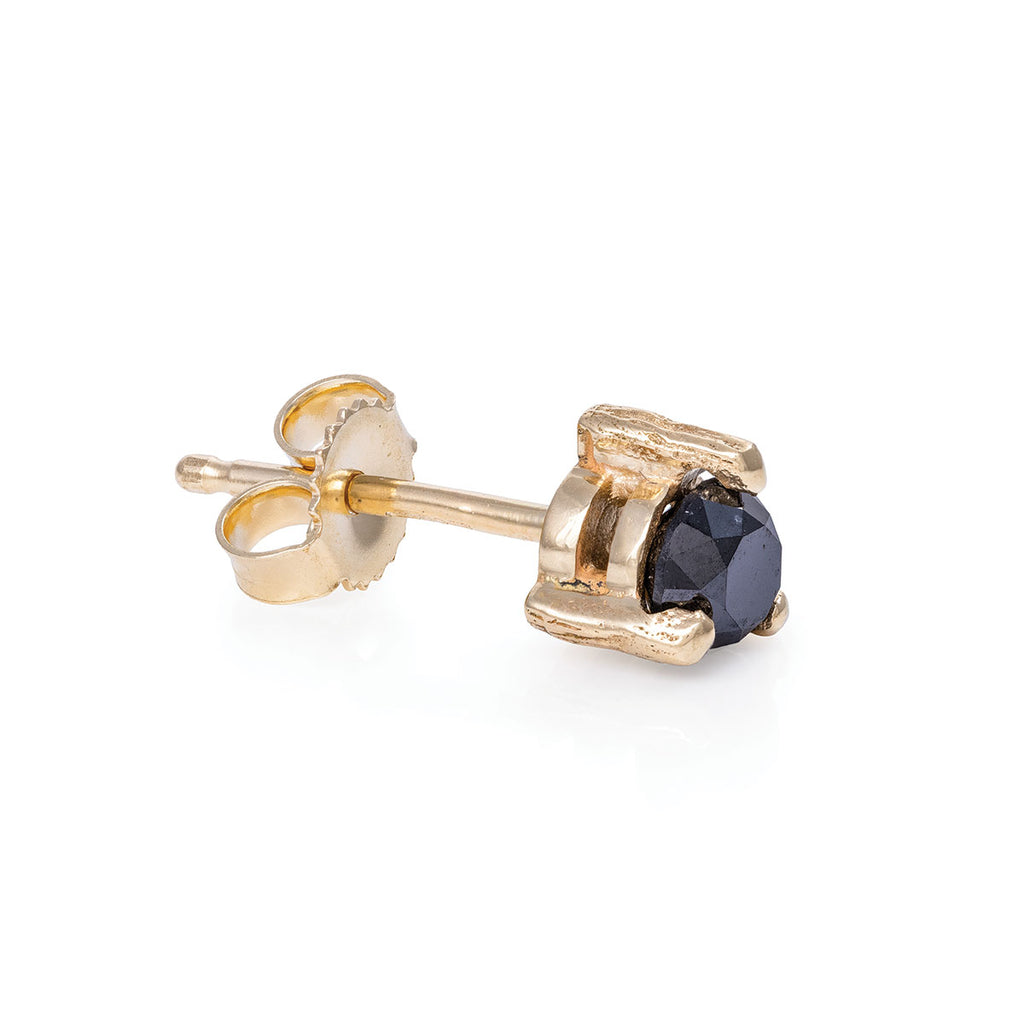 Chupi - Black Diamond Midi Stud Earrings - Single - Hope & Magic