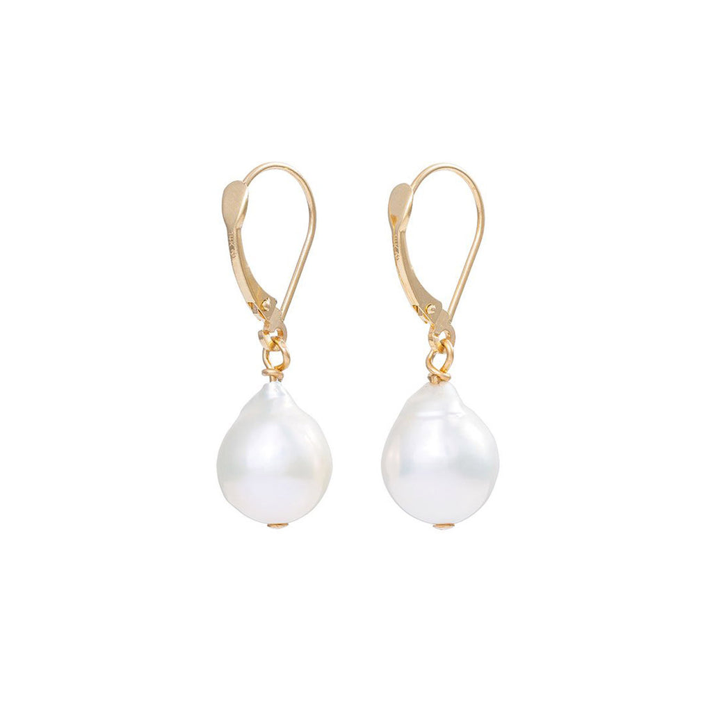 Chupi - Pearl Drop Earrings - Solid Gold Teardrop